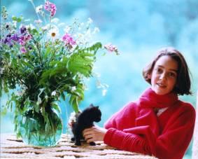 Francesca with favourite cat, Arles-sur-Tech, France