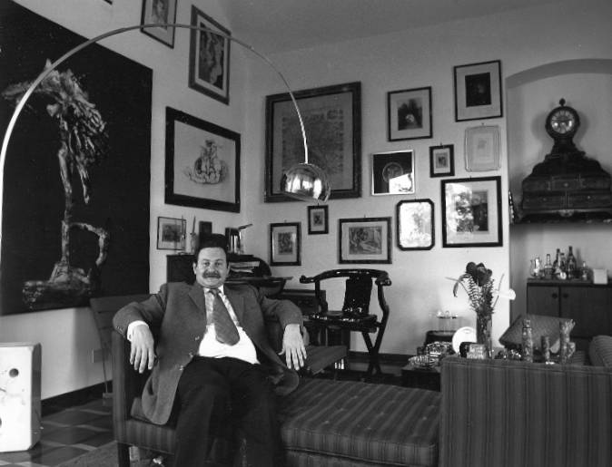 Mitchell Wolfson Jr, art collector and founder of museum  amidst his collection in Nervi, Italy