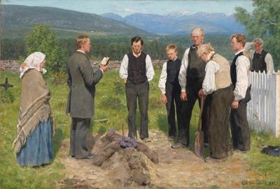 NOR En bondebegravelse, ENG Peasant Burial