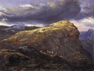 Johan Christian Dahl, 1788-1857, Stugunoset pa Filefjeld, 1851,The first great romantic painter of Norway. Founder of the 'golden age' of Norwegian painting.