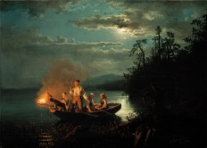 Hans Gude, 1825-1903, Fishing with a Harpoon, 1851, Nat. Gall. Norway, Oslo. Fishing with a Harpoon, 1851, Nat. Gall. Norway, Oslo.