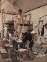 Edouard Dantan, 1848-1897, Making a castor a Living Model, 1887, oil. Göteborg Art Museum.