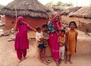 Family scene in a Rajasthan village, India
