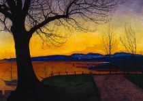 Harald Sohlberg, 1869-1935, Oslo from Akershus, 1013, Oil on canvas, Private Collection (in public domain).