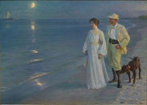 Peder Severin Krøyer,1899, Summer Evening on the Beach of Skagen.