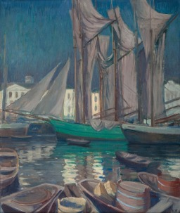 Väinö Blomstedt, Boats in the Harbour of Helsinki, Finnish, 1871-1947, Oil on Canvas