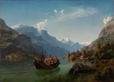 Hans Gude, 1825-1903, and Hans Tideman,1814-1876, Norwegians, Bridal Party, Hardangerfjord, 1848.