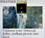 Hurricane in the Barents Sea, winds of 200km/H